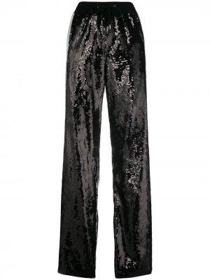 Sequin side striped track pants Alberta Ferretti. Цвет: черный