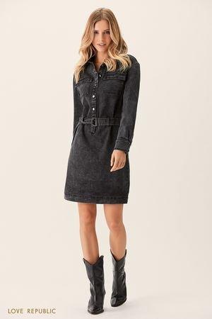 Джинсовое платье-рубашка чёрного цвета LOVE REPUBLIC