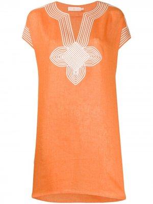Удлиненная туника с вышивкой Tory Burch. Цвет: оранжевый