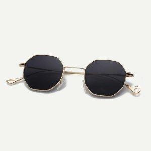 Мужские очки с многоугольникой оправой SHEIN. Цвет: чёрный