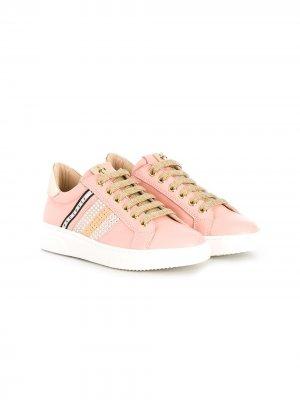Декорированные кроссовки на шнуровке Cesare Paciotti Kids. Цвет: розовый