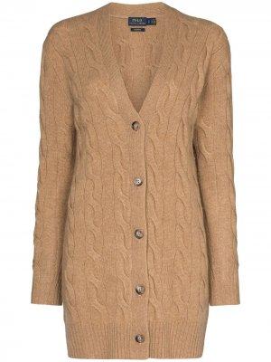 Кардиган фактурной вязки Polo Ralph Lauren. Цвет: коричневый