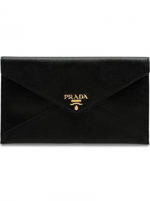 Папка для документов с логотипом Prada. Цвет: черный