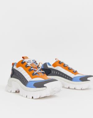 Кроссовки на массивной подошве с синими и оранжевыми вставками -Белый Cat Footwear