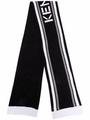 Жаккардовый шарф с полосками Kenzo Kids. Цвет: черный