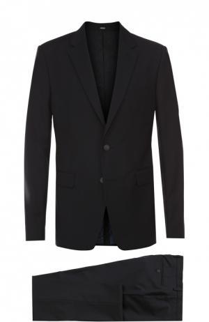 Шерстяной приталенный костюм Kenzo. Цвет: темно-синий