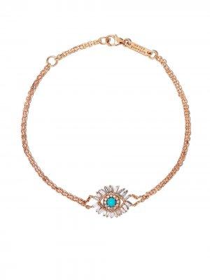 Браслет из розового золота с бриллиантами и бирюзой Suzanne Kalan. Цвет: розовый