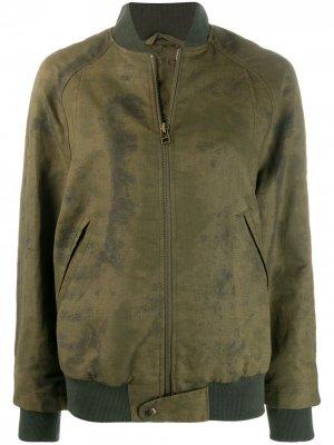 Куртка-бомбер с эффектом потертости Mr & Mrs Italy. Цвет: зеленый