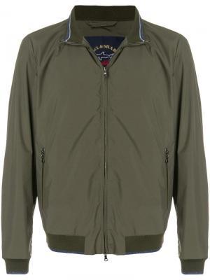 Куртка-бомбер с деталями полосками Paul & Shark. Цвет: зеленый