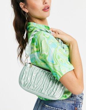 Присборенная сумка на плечо с плетеным ремешком -Зеленый цвет Glamorous