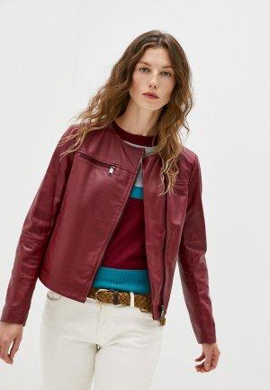 Куртка кожаная Max&Co NOTO. Цвет: бордовый