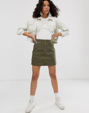 Джинсовая мини-юбка цвета хаки с молнией спереди и большими карманами -Зеленый Weekday