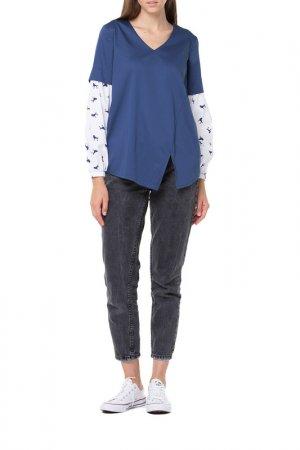 Блуза Adzhedo. Цвет: синий, белый, пудели