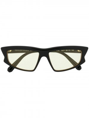 Солнцезащитные очки в оправе кошачий глаз Philipp Plein. Цвет: черный