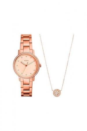 Наручные часы и колье женское Fossil. Цвет: розовый
