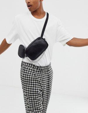 Сумка-кошелек на пояс из искусственной кожи с карманами и цепочкой -Черный ASOS DESIGN