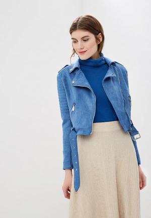 Куртка кожаная Rinascimento. Цвет: голубой
