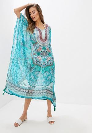 Платье пляжное Indiano Natural. Цвет: бирюзовый