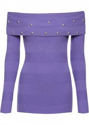Пуловер с открытыми плечами bonprix. Цвет: лиловый