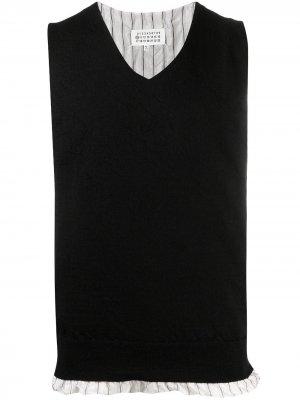 Трикотажный жилет с V-образным вырезом Maison Margiela. Цвет: черный