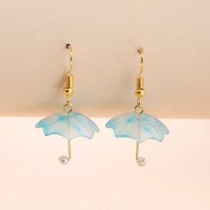 Серьги-подвески с зонтом для девочек SHEIN. Цвет: синий