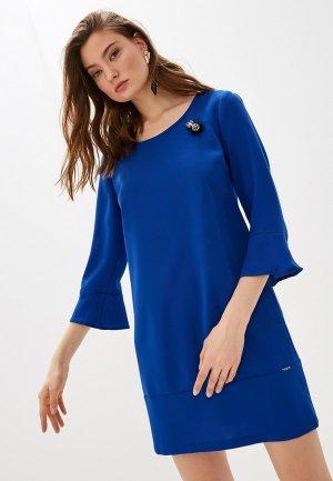 Платье Liu Jo и брошь. Цвет: синий