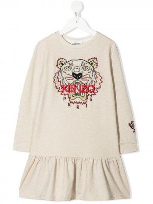 Платье-толстовка Chinese New Year Tiger Kenzo Kids. Цвет: нейтральные цвета