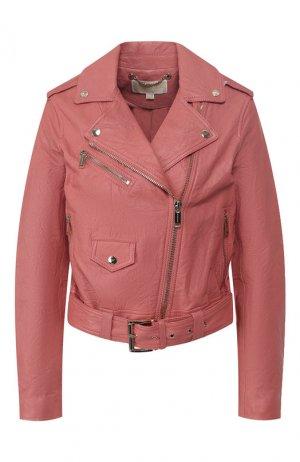 Кожаная куртка MICHAEL Kors. Цвет: розовый