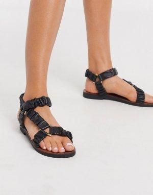 Черные кожаные премиум-сандалии в спортивном стиле -Черный ASOS DESIGN