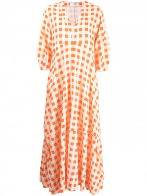 Длинное платье в клетку Victoria Beckham. Цвет: оранжевый