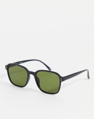 Солнцезащитные очки с черной квадратной оправой и зелеными стеклами -Черный цвет ASOS DESIGN