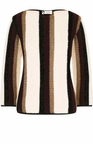 Пуловер с вырезом-лодочка и укороченным рукавом Lanvin. Цвет: бежевый