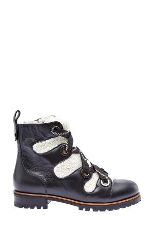Ботинки из гладкой кожи с отделкой овчины JIMMY CHOO. Цвет: черный