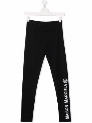 Logo-print cotton leggings MM6 KIDS. Цвет: черный