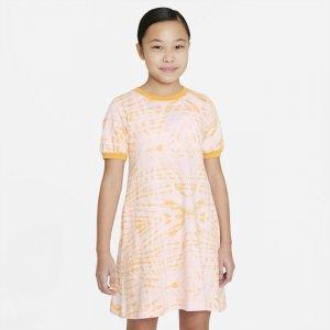 Платье с коротким рукавом и принтом для девочек школьного возраста Nike Sportswear - Коричневый