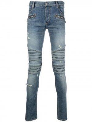 Monogram embroidered slim-fit jeans Balmain. Цвет: синий