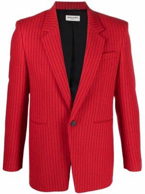 Однобортный пиджак в тонкую полоску Saint Laurent. Цвет: красный
