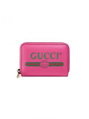 Визитница с принтом логотипа Gucci. Цвет: розовый