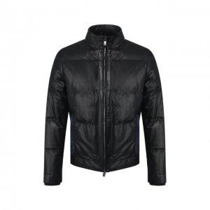 Кожаная куртка Corneliani. Цвет: синий