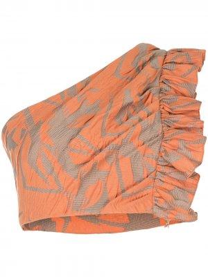 Frisa Frille one-shoulder cropped top Alexis. Цвет: оранжевый