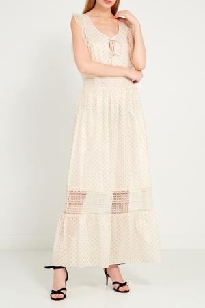 Хлопковое платье-макси в горох Anna Rachele. Цвет: бежевый
