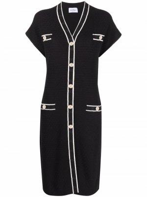 Платье-кардиган с короткими рукавами Salvatore Ferragamo. Цвет: черный