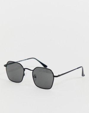 Квадратные солнцезащитные очки в черной оправе -Черный AJ Morgan