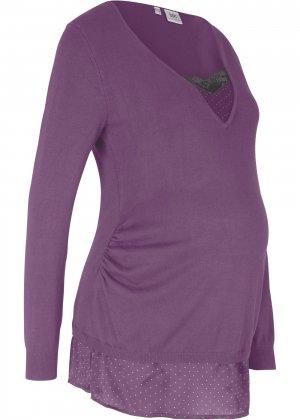Пуловер для беременных bonprix. Цвет: лиловый