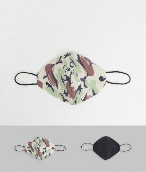 Набор из 2 камуфляжных масок для лица -Зеленый Topman