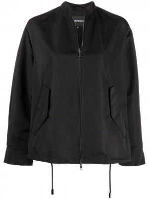 Куртка-бомбер на молнии с кулиской Emporio Armani. Цвет: черный