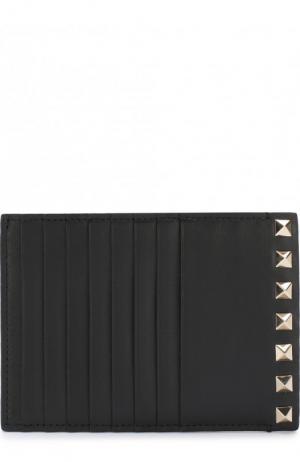 Кожаный футляр для кредитных карт Garavani Rockstud Valentino. Цвет: черный