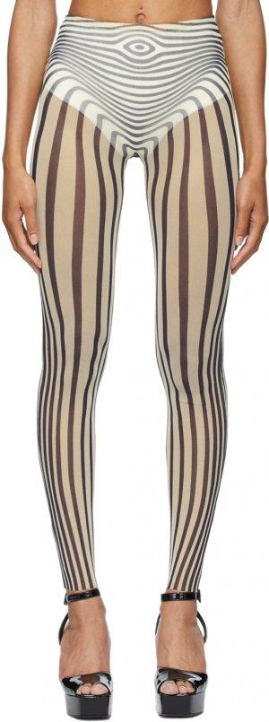 SSENSE Exclusive Off-White & Navy Les Marins Body Stripe Leggings Jean Paul Gaultier. Цвет: 0359-ecru/midnight b