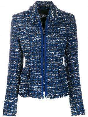 Твидовый пиджак букле Karl Lagerfeld. Цвет: синий