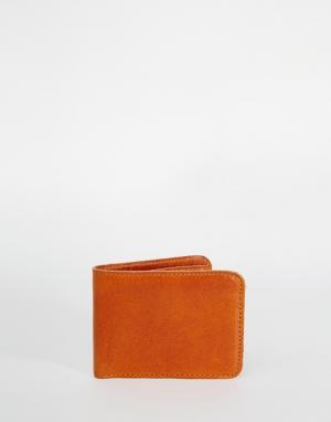 Кожаный бумажник Jack & Jones. Цвет: коричневый